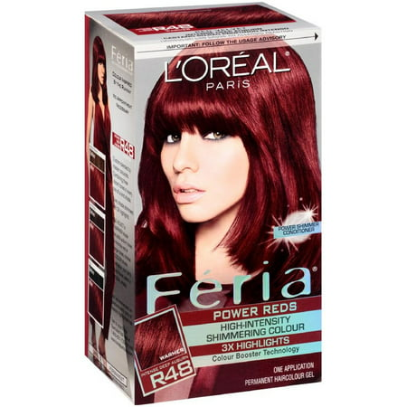 L'Oreal Paris Feria Power Reds High-Intensity Shimmering Color, Intense Deep Auburn [R48] (Warmer) 1 ea (Pack of 2) - Is Auburn Red