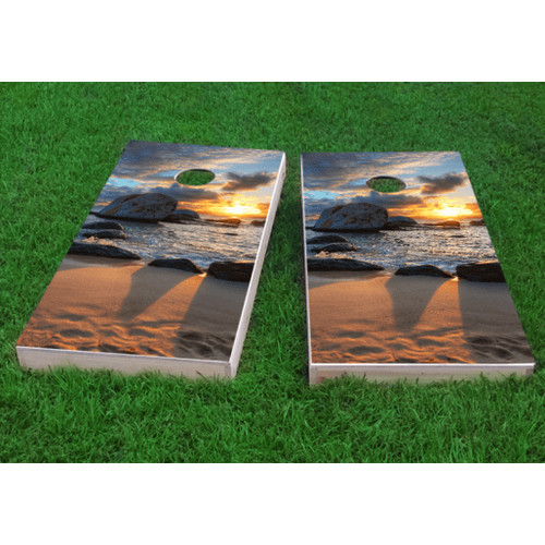 Custom Cornhole Boards Beach Sunset Cornhole Game (Set of 2) by Custom Cornhole Boards