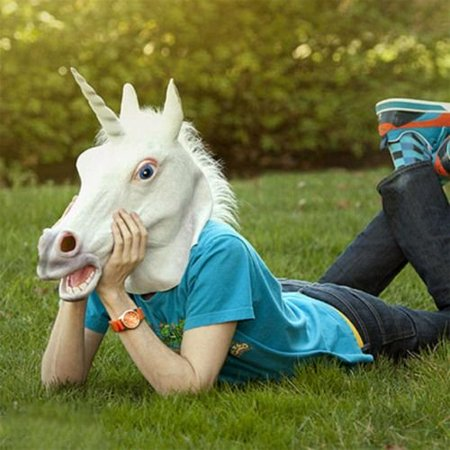 BatterElec(TM) Halloween White Unicorn Horse Head Mask Latex for a Crazy Cosplay