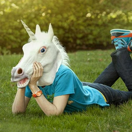 BatterElec(TM) Halloween White Unicorn Horse Head Mask Latex for a Crazy Cosplay Party](No A Halloween Pics)