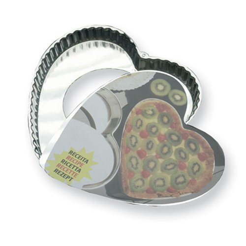 SCI Scandicrafts Fluted Heart Shaped Tart Pan with Removable Bottom 11-inch