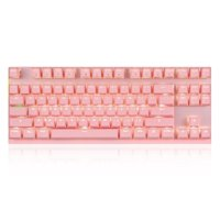 Motospeed Wired / Wireless Dual Mode 87 Keys Red Switch Mechanical Keyboard 2.4G Wireless Backlit Gaming Keyboard Built-in Rechargeable Battery Aluminium Alloy Panel for Desktop/Laptop (Pink)