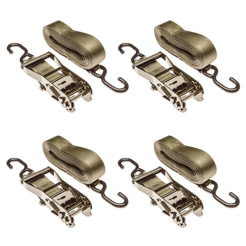 """2"""" x 27' Ratchet Straps with S-Hooks - 4 Pack"""