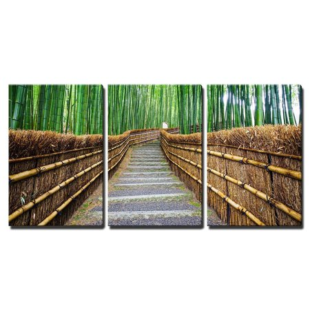wall26 - 3 Piece Canvas Wall Art - Path to Bamboo Forest Arashiyama Kyoto Japan - Modern Home Decor Stretched and Framed Ready to Hang - 24