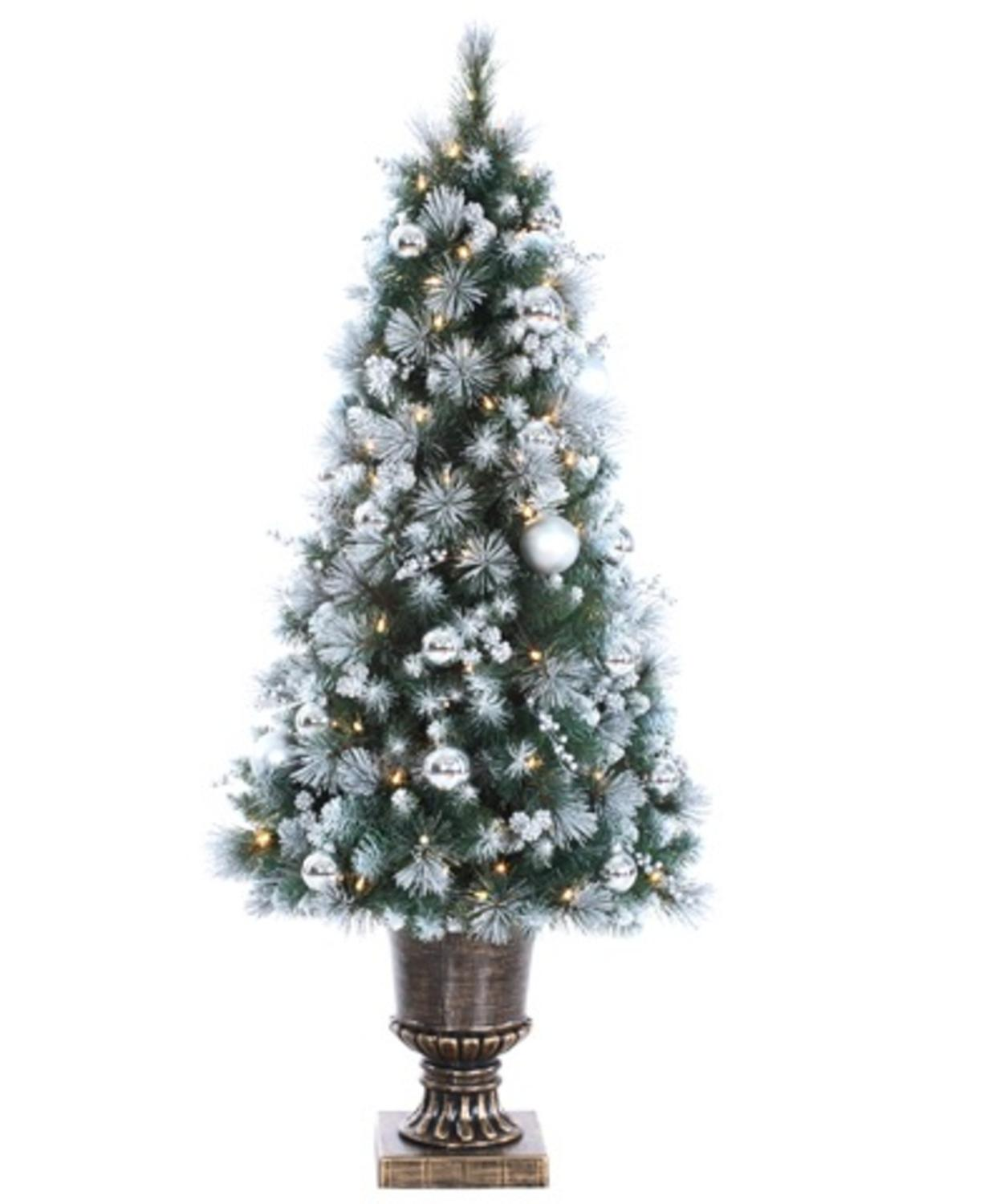 Potted Artificial Christmas Tree: 4' Lighted Pre-Decorated Potted Canadian Pine Artificial