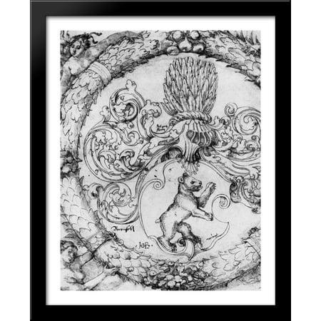 Coat of arms Basler Adelberg III of Bear Rock, Lord Arisdorf 28x34 Large Black Wood Framed Print Art by Hans