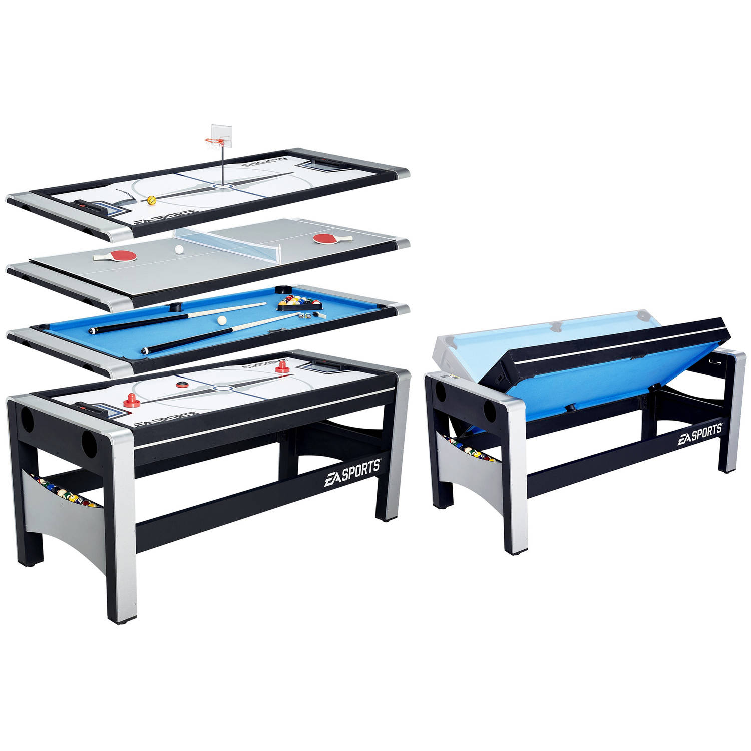 ESPN 72 Inch 4-in-1 Swivel Combo Game Table, 4 Games with Hockey, Billiards, Table Tennis and Finger Shoot Basketball