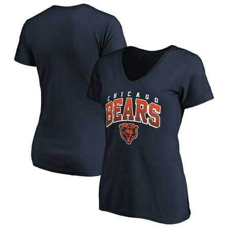 Women's Fanatics Branded Navy Chicago Bears Faded Arch V-Neck T-Shirt Chicago Bears Stone