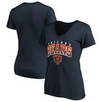 Women's Fanatics Branded Navy Chicago Bears Faded Arch V-Neck T-Shirt