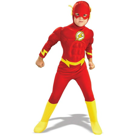 DC Comics The Flash Muscle Chest Deluxe Toddler Halloween Costume, 3T-4T (Party City Toddler Costume)