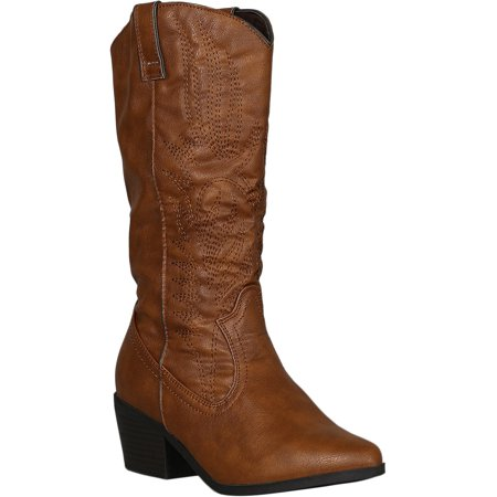 Calf Western Boots (Women Leatherette Western Stitch Pointy Toe Mid Calf Boots 18270)