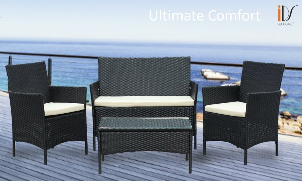 Great Compact 4 Piece Indoor/outdoor Rattan Wicker Patio Furniture Dining  Set   Perfect For
