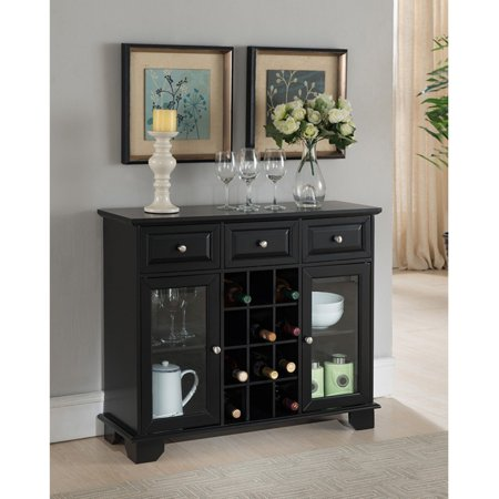 - K&B Furniture Black Wood 2 Glass Door Wine Cabinet