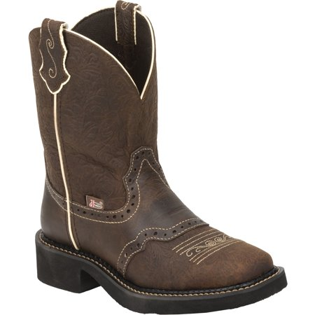 Justin Women's Gypsy Embossed Floral Leather Cowgirl Boot Square Toe - L9618 (Justin Boots Womens)