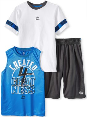 RBX Tee, Graphic Muscle Tank and Short 3 Piece Set (Little Boys & Big Boys)