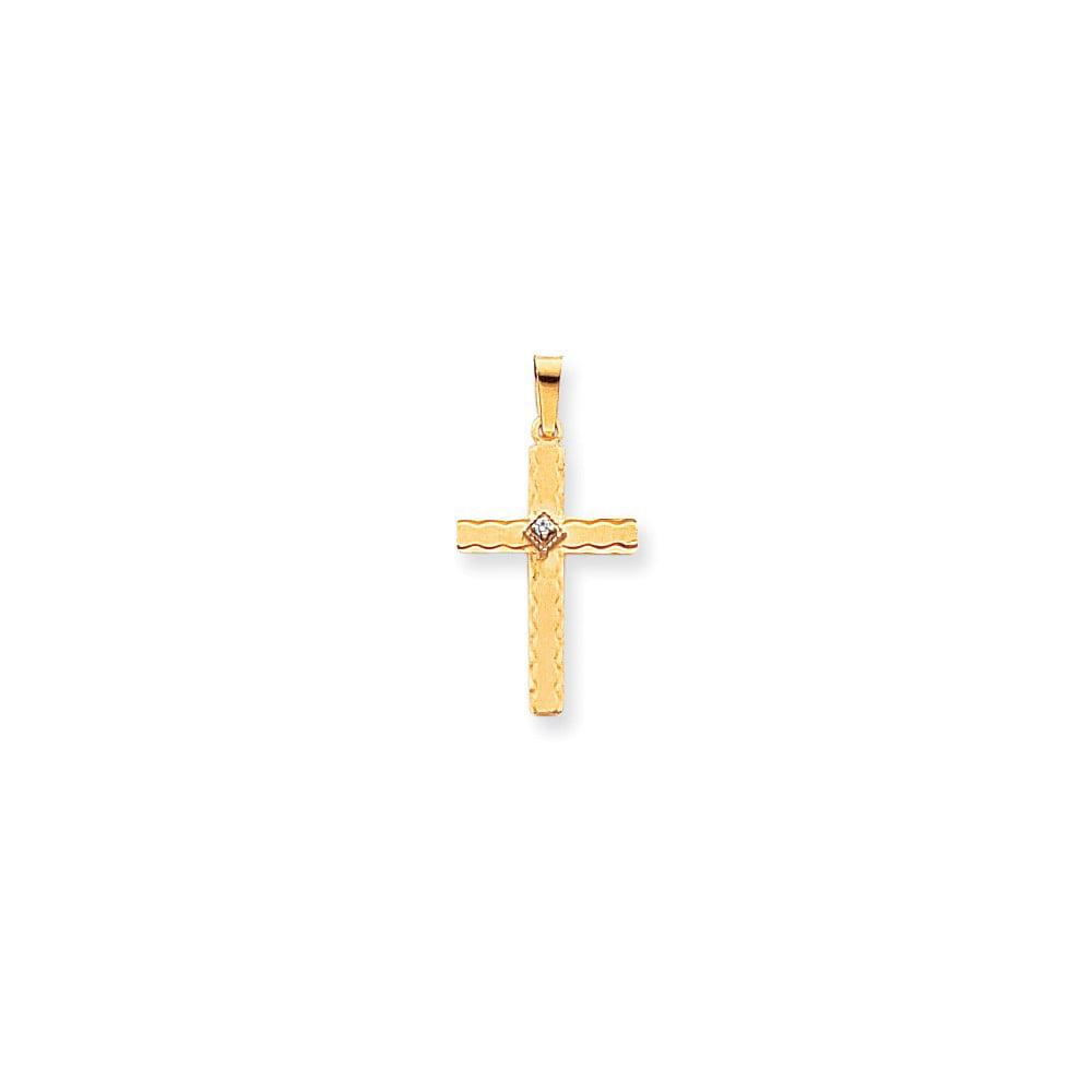 14k Yellow Gold H-I SI2 Quality Diamond Cross Pendant