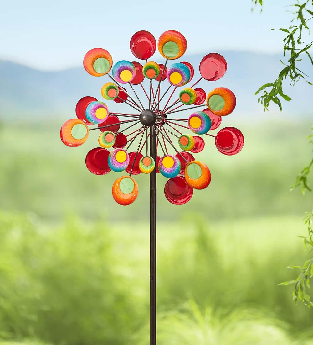 Multicolored Cosmic Metal Garden Wind Spinner by Plow & Hearth