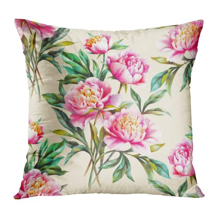 ECCOT Flower Watercolor Hand Paint Pink Peonies and Leaves Botanical Pattern Peony Bloom Blossom Pillow Case Pillow Cover 20x20 - Hand Painted Flower Peg