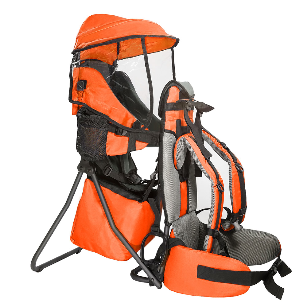 Clevr Premium Cross Country Baby Backpack Child Carrier Lightweight & Kid Sun Shade Cover, Orange