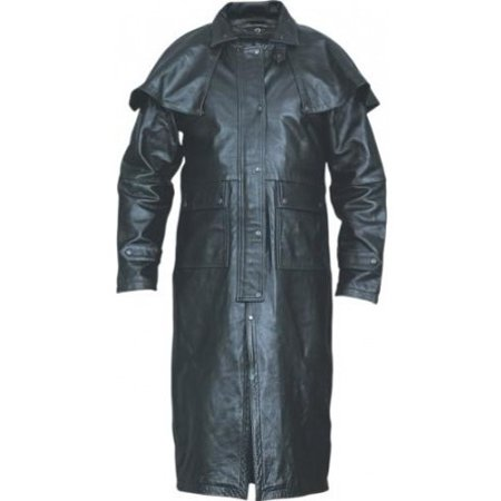 Boys Duster Jacket (Men's Boy Motorcycle 4XL Size Black duster in Soft Buffalo Leather With Black)
