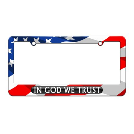 Usa License Plate Frames (In God We Trust Black - USA - License Plate Tag Frame - American Flag Design)