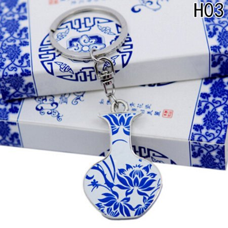 Keychain Porcelain - Fancyleo Keychain Chinese Blue and White Porcelain Print Souvenir Key Ring Key Chain Friends Gifts Car Bag Jewelry