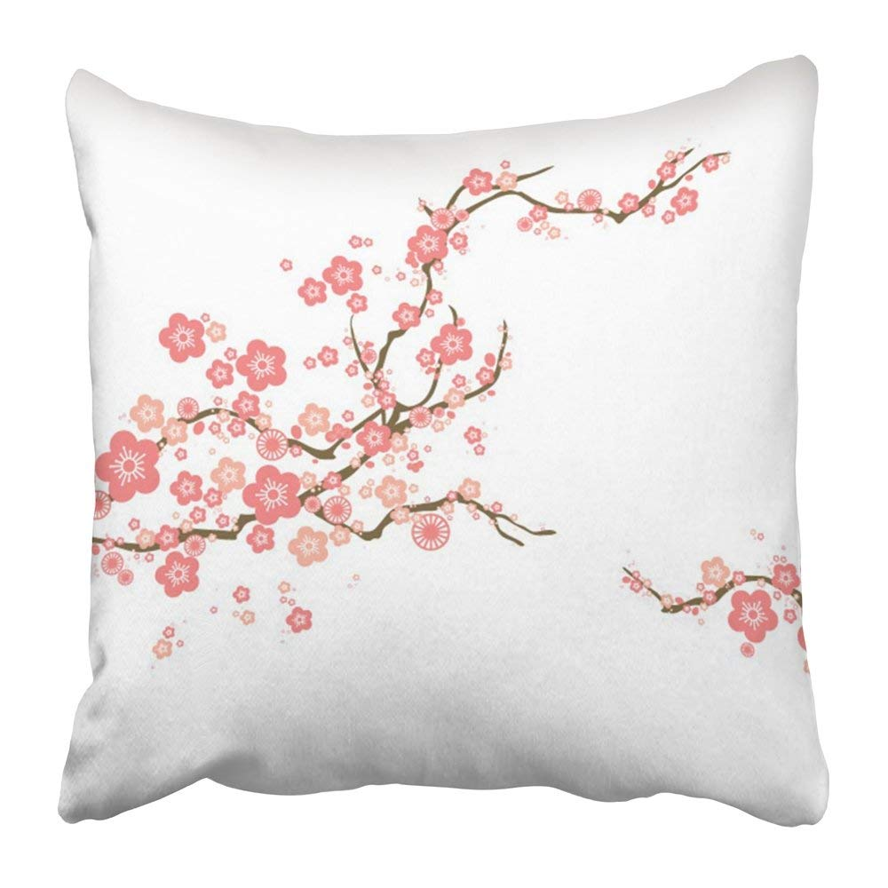 BPBOP Pink Chinese Cherry Blossom Flower Japan Plum Branch Tree Oriental Spring Pillowcase 16x16 inch