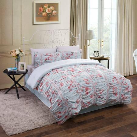 Ruched Floral Cotton Bedding Comforter Set Walmart Com