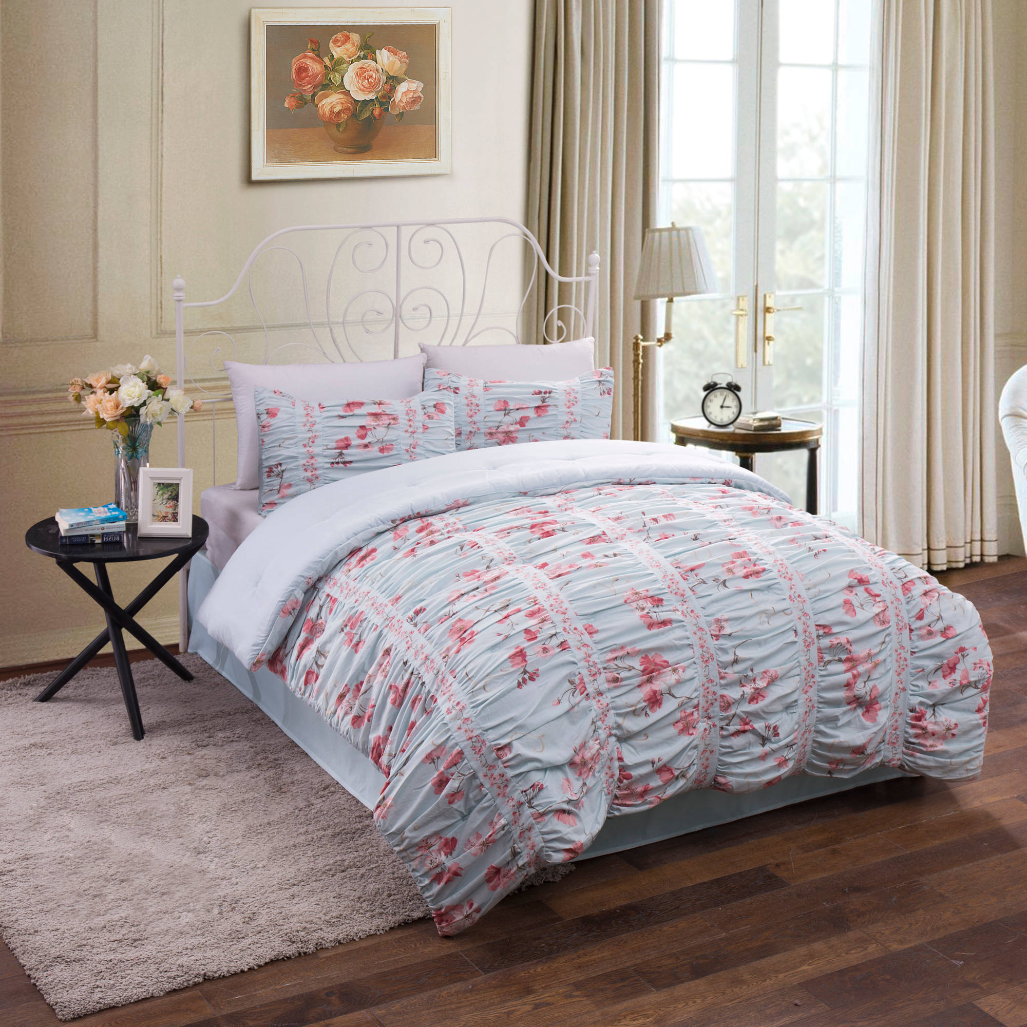 Ruched Floral Cotton Bedding Comforter Set