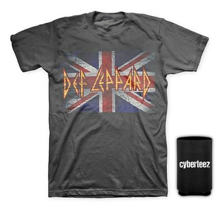 Def Leppard Vintage Union Jack Men's Distressed GRAY T-Shirt + Coolie (S) Union Jack Vintage