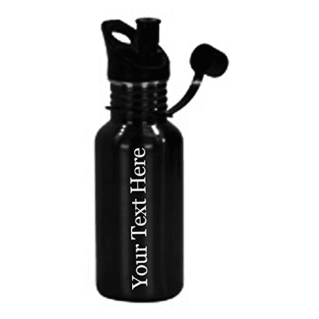 Customized 3D Laser Engraved Personalized 17 oz Custom Stainless Steel Water Bottle (Black) - Personalized Hennessy Bottle