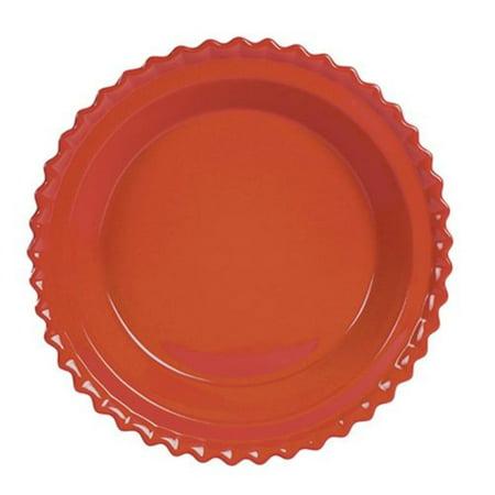"93-PD23 CB Ceramic Pie Dish 9-Inch Cinnabar, 1 Quart / 32 oz Capacity, 9"" x 1"" By Chantal Chantal Classic Pie Dish"