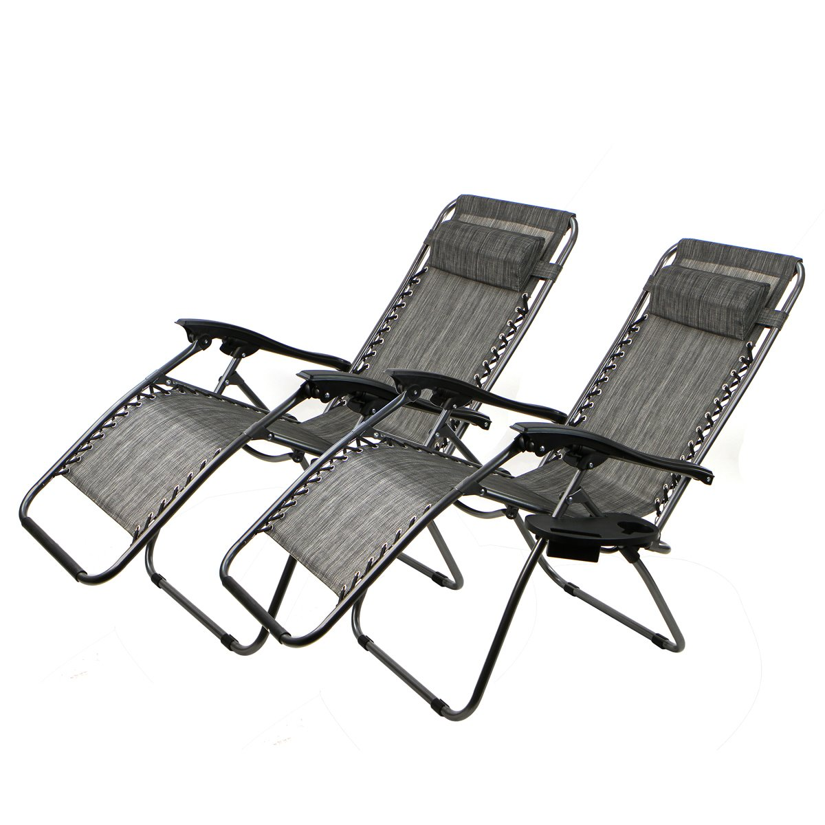 Set Of 2 Patio Zero Gravity Chair Folding Lounge with Cup Holder