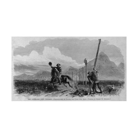 The Overland Pony Express. Photographed by Savage, Salt Lake City, from a Painting by George M. Ott Print Wall Art](Party City Overland Park Kansas)