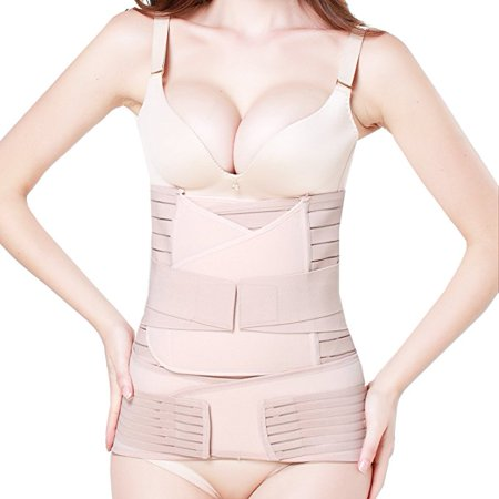 VGEBY 3 in 1 Postpartum Girdle Support Recovery Belly Band Corset Wrap Body Shaper for After Birth Postnatal Waist Pelvis (Best After Birth Belly Wrap)