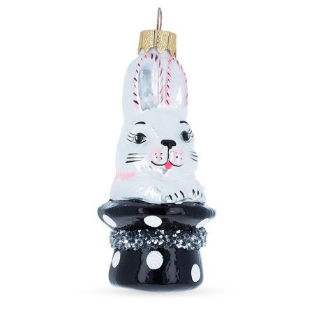 BestPysanky Rabbit In Magician Hat Mouth Blown Glass Christmas Ornament 4.1 Inches