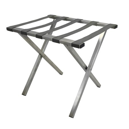 - Brushed Stainless Steel Luggage Rack, Gray Straps, Square Tubing, Gray