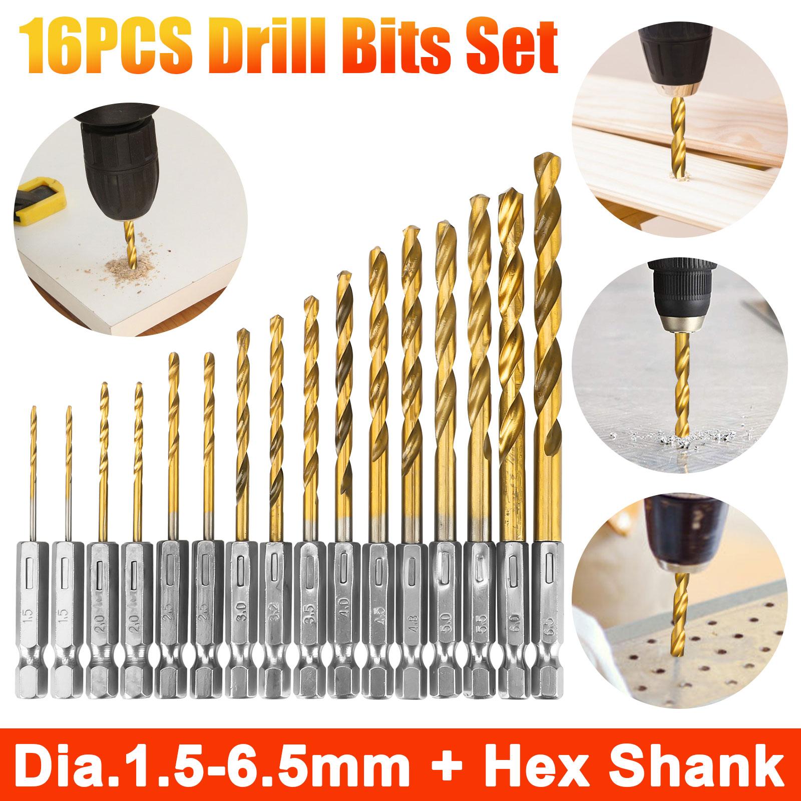 6mm Drilling Dia 2 Flutes HSS 1//4-inch Hex Shank Twist Drill Bit 3pcs