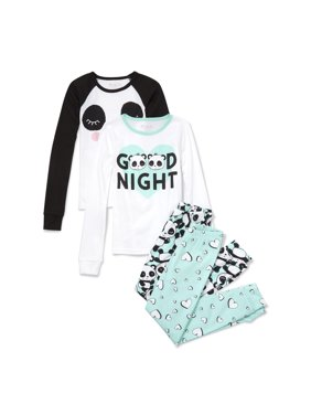 Long Sleeve Panda Printed 'Good Night' Raglan 4 Piece Pajama Set (Little Girls & Big Girls)