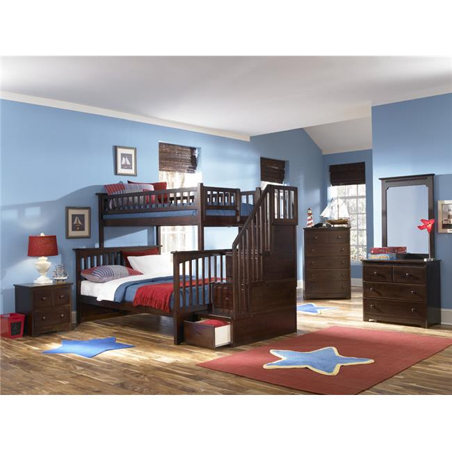 Columbia Staircase Bunkbed with Urban Trundle Bed - Antique Walnut, Twin Over Twin Size