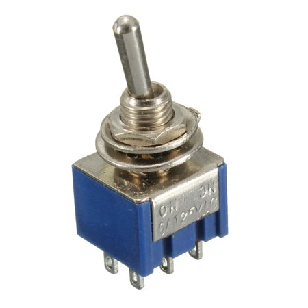 2x DPDT Mini Metal Toggle Switches 6-Pin On/On 2-Position 6A 125V/3A 250V