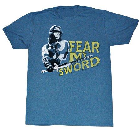 Conan Barbarian Destroyer Arnold Schwarzenegger Fear My Sword Blue Adult T Shirt