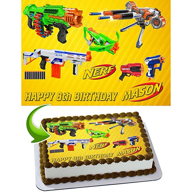 Stupendous Nerf Toys Blaster Guns Edible Image Cake Topper Personalized Personalised Birthday Cards Veneteletsinfo