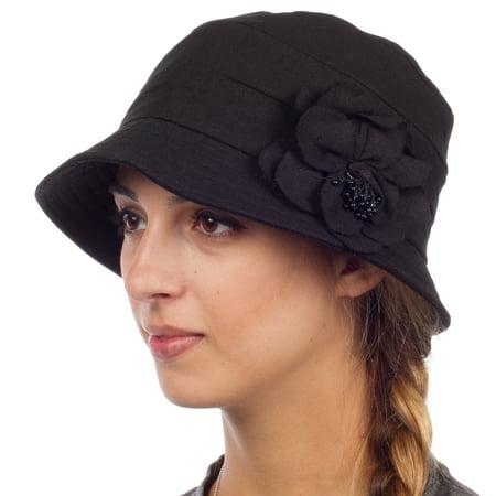 Sakkas Womens Solid Linen Blend Flower Accent Cloche Bucket Bell Summer Hat - Black - One Size