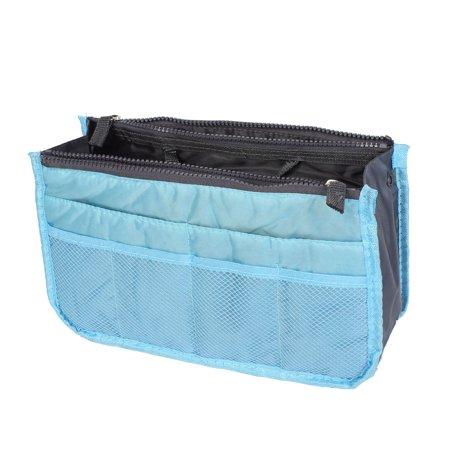 Bag Organizer Insert - Sky Blue Cosmetic Makeup Storage Handbag Tote Insert Purse Organizer Pouch Bag