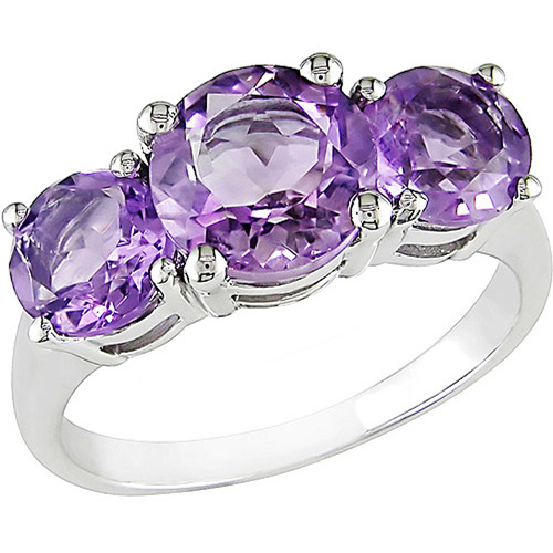 3 Carat T.G.W. Round Amethyst Three-Stone Ring in Sterling Silver