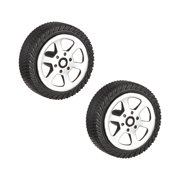 2pcs 25.52A 25.5mm Dia 8mm Thick Rubber Toy Car Wheel Black Silver