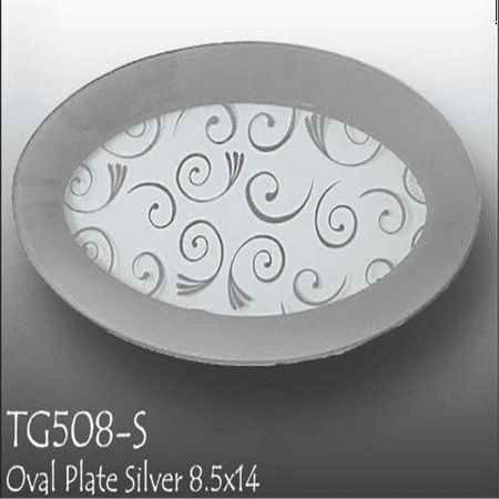 GAC Tempered Glass Oval Platter Serving Tray and Decorative Plate Unbreakable - Chip Resistant - Oven Proof - Microwave Safe - Dishwasher Safe - Stackable (silver) Dishwasher Safe Platinum Platter