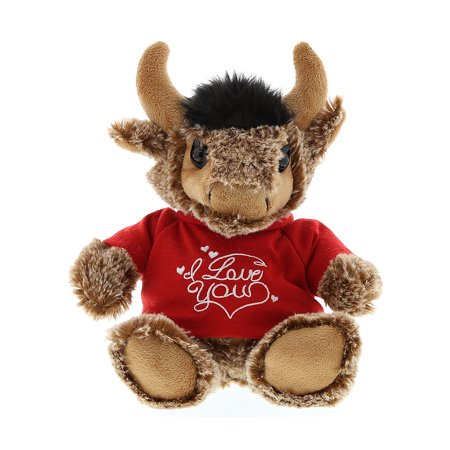 Super Soft Plush Dollibu Sitting Buffalo Red I Love You Shirt Valentines