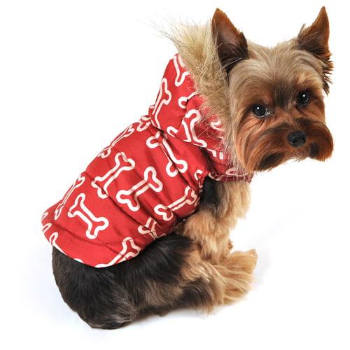SimplyDog Puffer Bone Dog Jacket, Red, Outline
